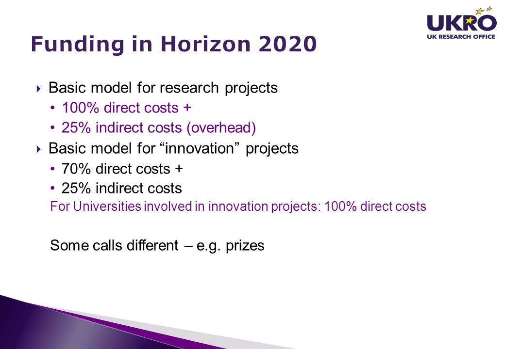 """ Basic model for research projects 100% direct costs + 25% indirect costs (overhead)  Basic model for """"innovation"""" projects 70% direct costs + 25% i"""