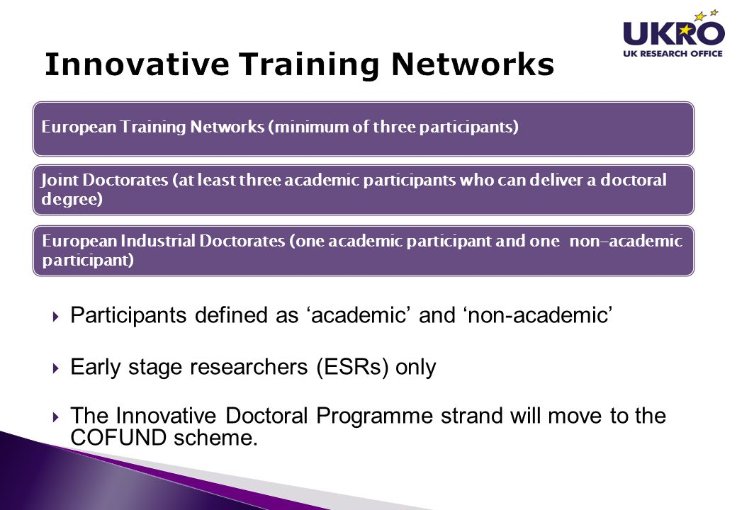  Participants defined as 'academic' and 'non-academic'  Early stage researchers (ESRs) only  The Innovative Doctoral Programme strand will move to