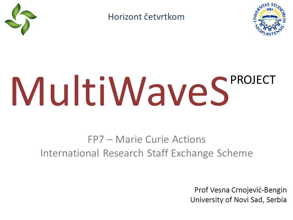 FP7 – Marie Curie Actions International Research Staff Exchange Scheme MultiWaveS PROJECT Prof Vesna Crnojević-Bengin University of Novi Sad, Serbia Horizont četvrtkom