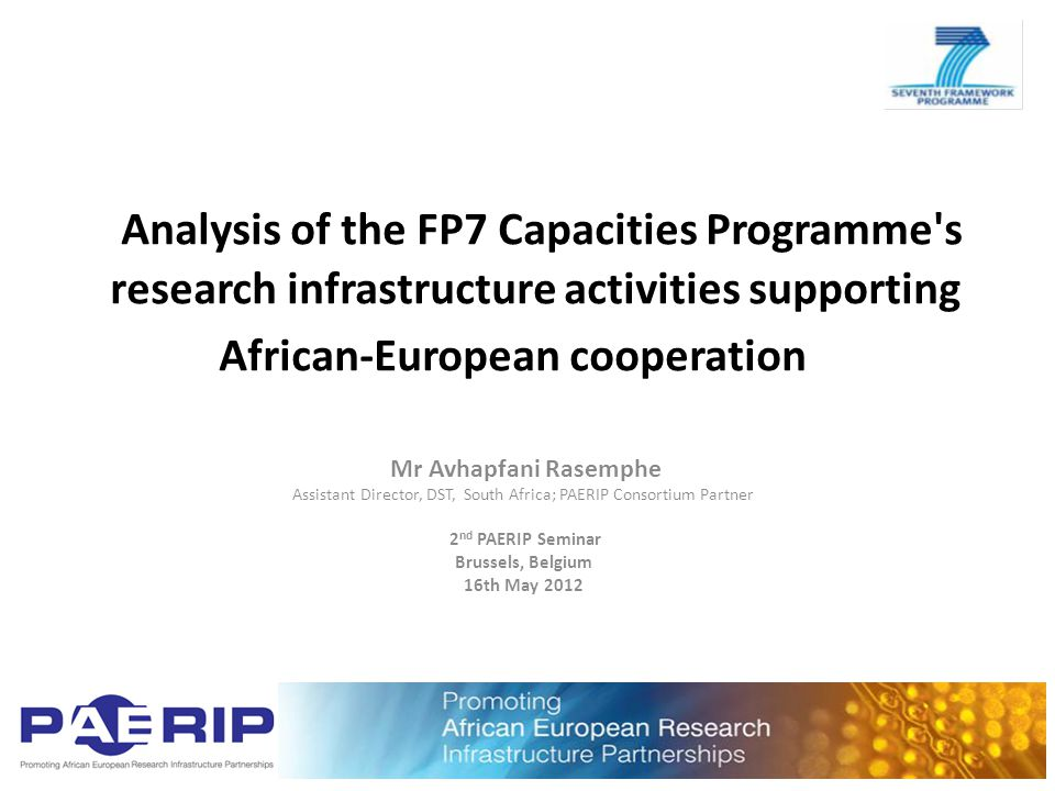 Presentation Outline Objectives Data on African participation Way forward