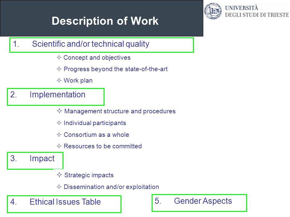 Description of Work dr.