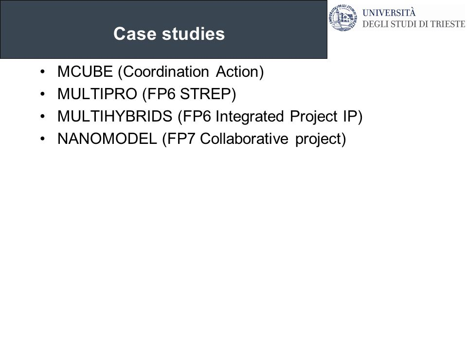 Case studies MCUBE (Coordination Action) MULTIPRO (FP6 STREP) MULTIHYBRIDS (FP6 Integrated Project IP) NANOMODEL (FP7 Collaborative project)
