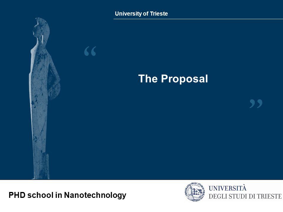 University of Trieste PHD school in Nanotechnology The Proposal