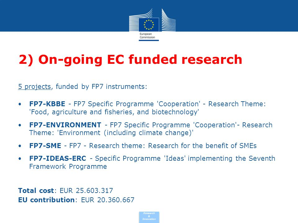 Research & Innovation 2) On-going EC funded research 5 projects, funded by FP7 instruments: FP7-KBBE - FP7 Specific Programme 'Cooperation' - Research
