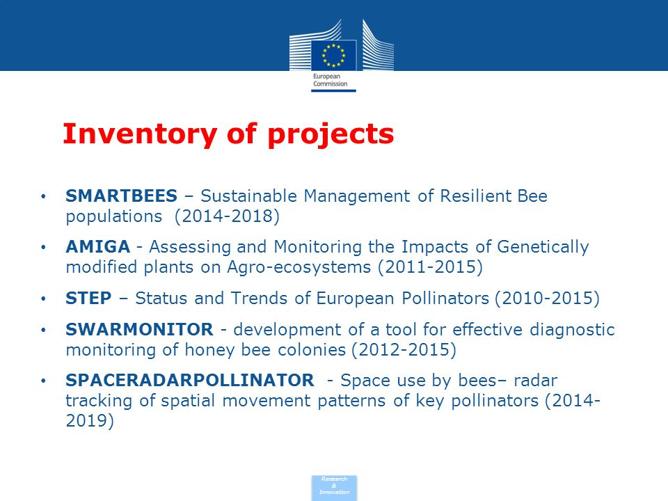 Research & Innovation SMARTBEES Sustainable Management of Resilient Bee populations (2014-2018) Total cost: EUR 7 762 261 EU contribution: EUR 5 998 866 Coordinated in: Germany Subprogramme: KBBE.2013.1.3-02 - Sustainable apiculture and conservation of honey bee genetic diversity Call for proposal: FP7-KBBE-2013-7-single-stage Funding scheme: CP-TP - Collaborative Project targeted to a special group (such as SMEs) Project reference: 613960 http://cordis.europa.eu/project/rcn/192071_en.html