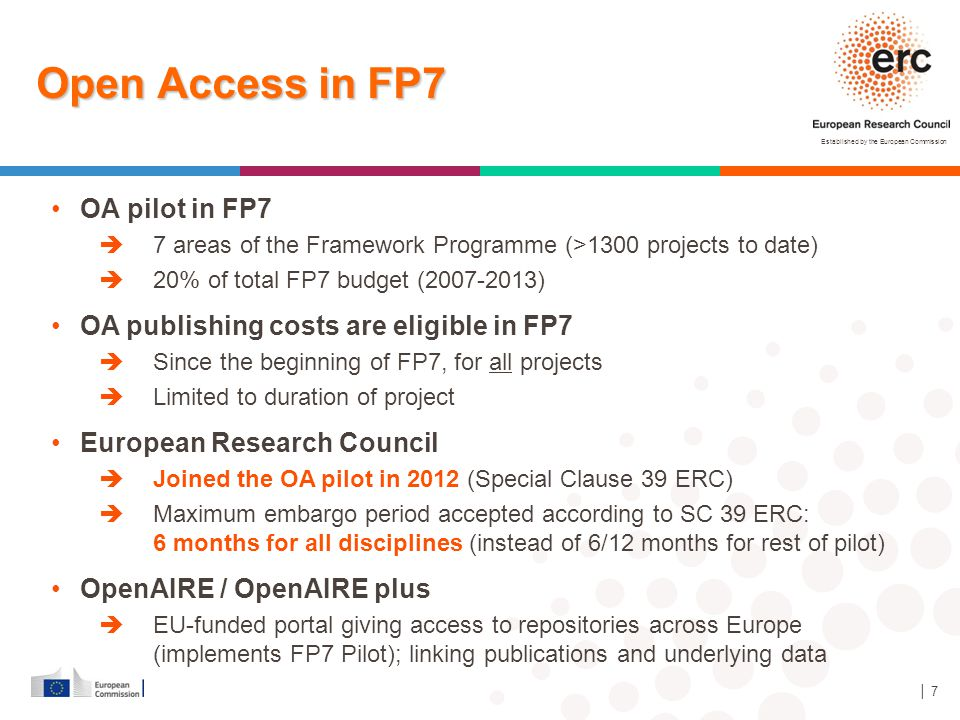 Established by the European Commission │ 18 Open access – what is proposed for Horizon 2020 .