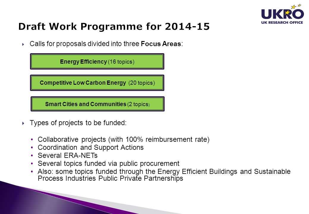  Calls for proposals divided into three Focus Areas:  Types of projects to be funded: Collaborative projects (with 100% reimbursement rate) Coordina