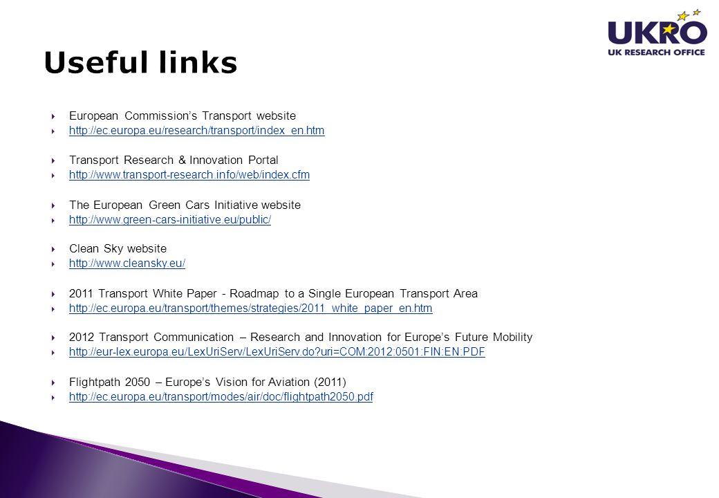  European Commission's Transport website  http://ec.europa.eu/research/transport/index_en.htm http://ec.europa.eu/research/transport/index_en.htm 