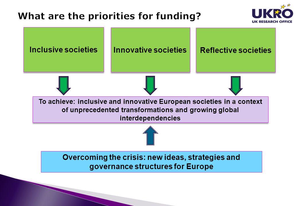Inclusive societies Innovative societies Reflective societies To achieve: inclusive and innovative European societies in a context of unprecedented tr