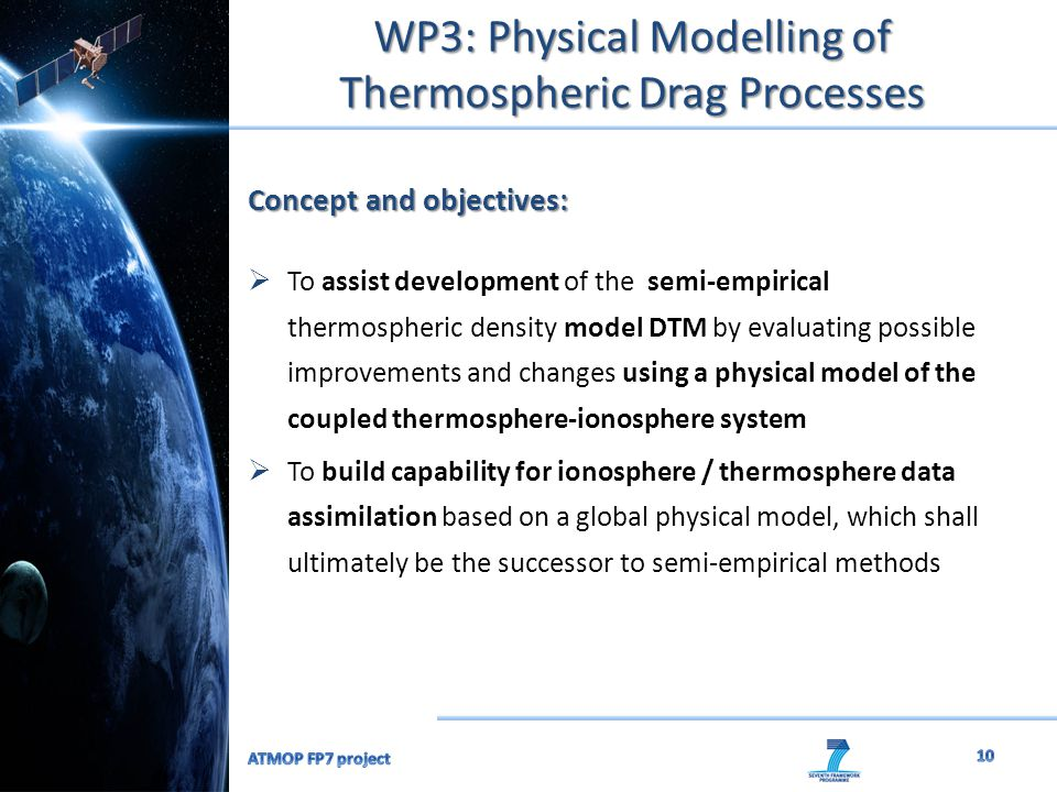 WP3: Physical Modelling of Thermospheric Drag Processes Concept and objectives:  To assist development of the semi-empirical thermospheric density mo