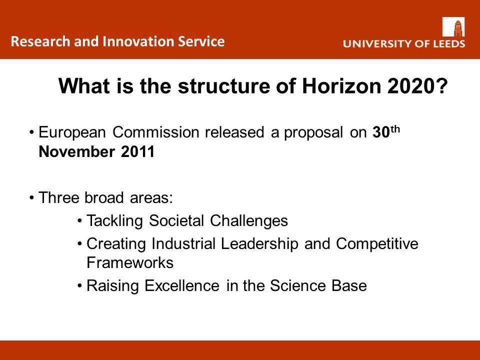 Research and Innovation Service Horizon 2020 vs FP7 Horizon 2020 ObjectiveSpecific AreasFP7 Equivalent Tackling societal challenges Multi-disciplinary, collaborative research projects - Grand Challenges Health, demographic changes and wellbeing Cooperation: Health Theme Food security and bio-based economy Cooperation: Food, Agriculture and Fisheries Biology Theme Secure, clean and efficient energyCooperation: Energy Theme smart, green and integrated transport Cooperation: Transport Theme Resource efficiency and climateCooperation: Environment Theme Inclusive, Innovative and Responsive Societies Cooperation: SSH Theme Secure societiesCooperation: Security Theme Creating industrial leadership & competitive frameworks Leadership in enabling and industrial technologies Cooperation: covering ICT, NMP and Space themes Innovation in SMEs Capacities: Research for the benefit of SMEs Access to risk financeRisk-sharing Finance Facility Raising excellence in the science base 'Bottom-up' research European Research Council (ERC) Marie Curie Future and Emerging Technologies (FET) Cooperation: ICT theme FET component European research infrastructuresCapacities: Research Infrastructures