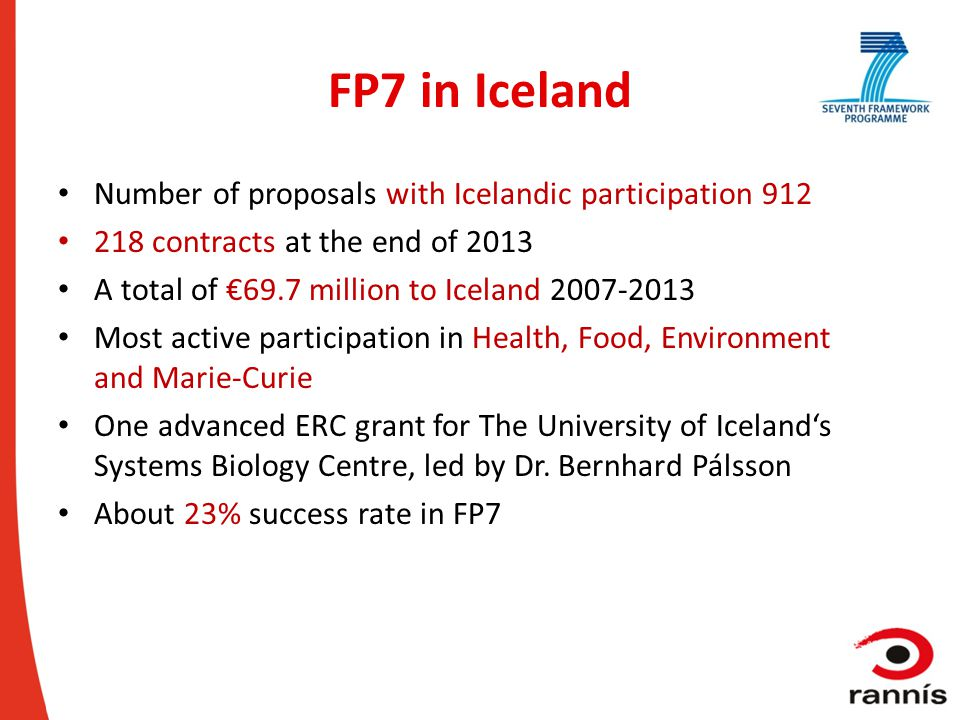 FP7 in Iceland Number of proposals with Icelandic participation 912 218 contracts at the end of 2013 A total of €69.7 million to Iceland 2007-2013 Mos