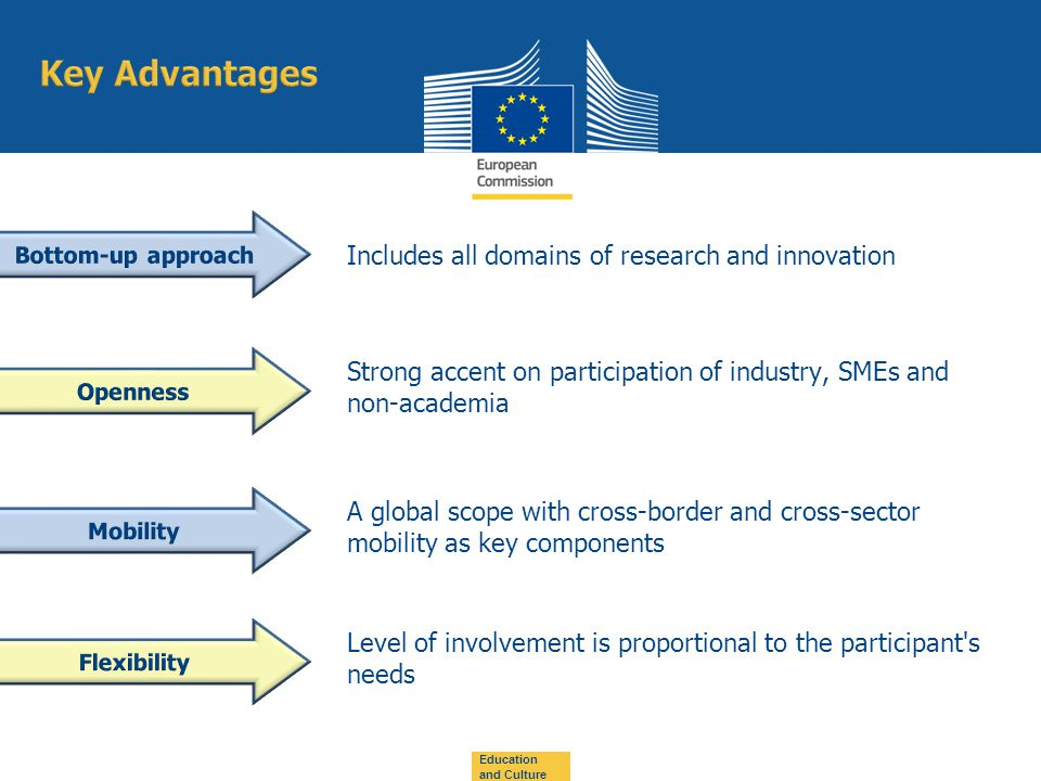 Includes all domains of research and innovation Strong accent on participation of industry, SMEs and non-academia A global scope with cross-border and cross-sector mobility as key components Education and Culture Level of involvement is proportional to the participant s needs