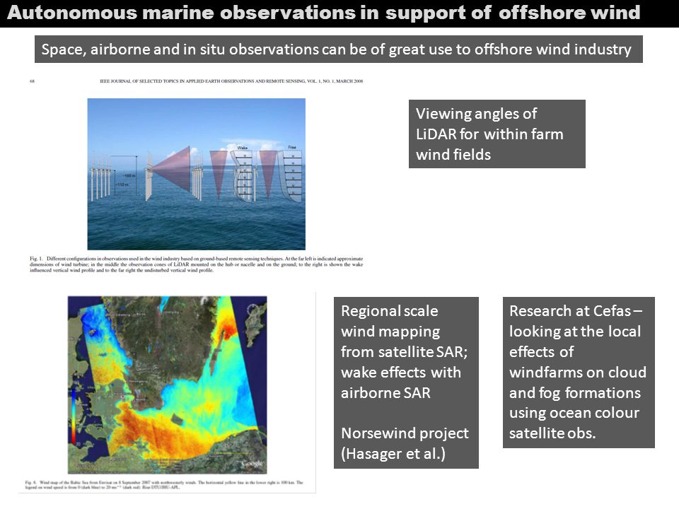 Autonomous marine observations in support of offshore wind Space, airborne and in situ observations can be of great use to offshore wind industry View