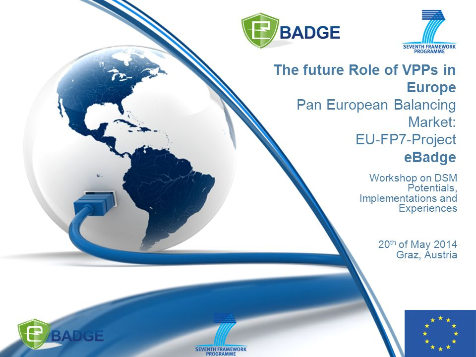 The future Role of VPPs in Europe Pan European Balancing Market: EU-FP7-Project eBadge Workshop on DSM Potentials, Implementations and Experiences 20 th of May 2014 Graz, Austria