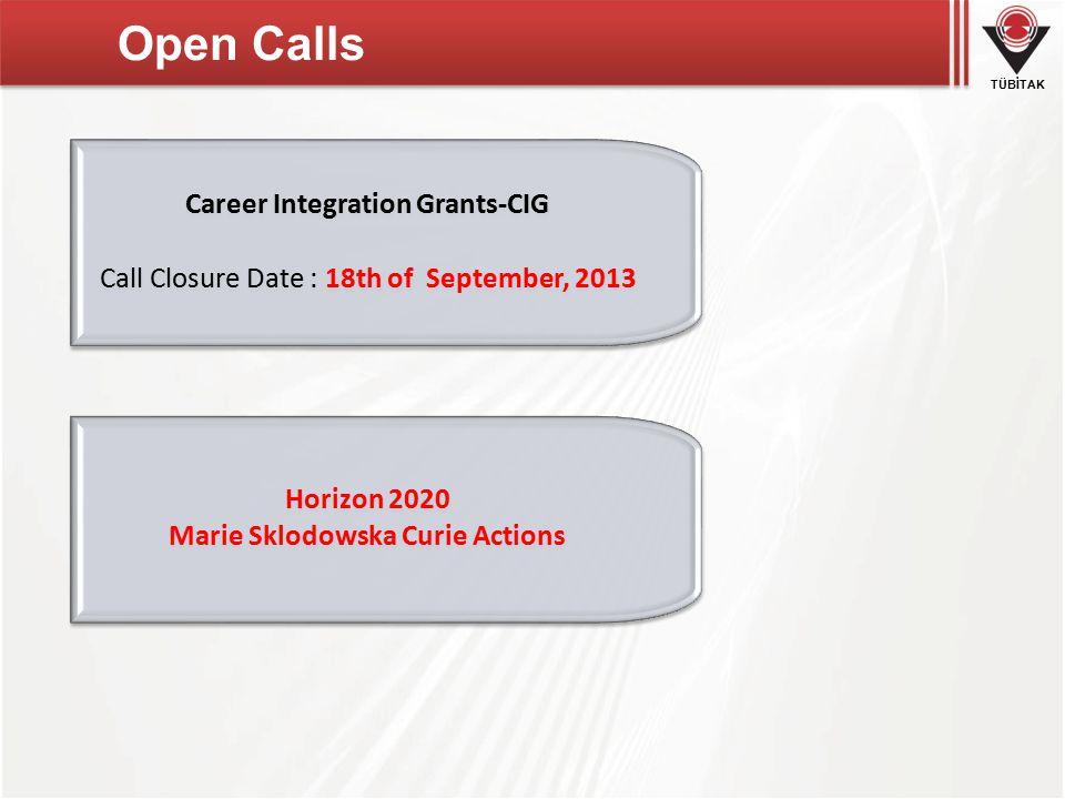 TÜBİTAK Open Calls Career Integration Grants-CIG Call Closure Date : 18th of September, 2013 Career Integration Grants-CIG Call Closure Date : 18th of September, 2013 Horizon 2020 Marie Sklodowska Curie Actions Horizon 2020 Marie Sklodowska Curie Actions