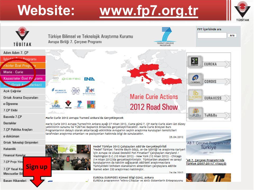 TÜBİTAK Website: www.fp7.org.tr Sign up