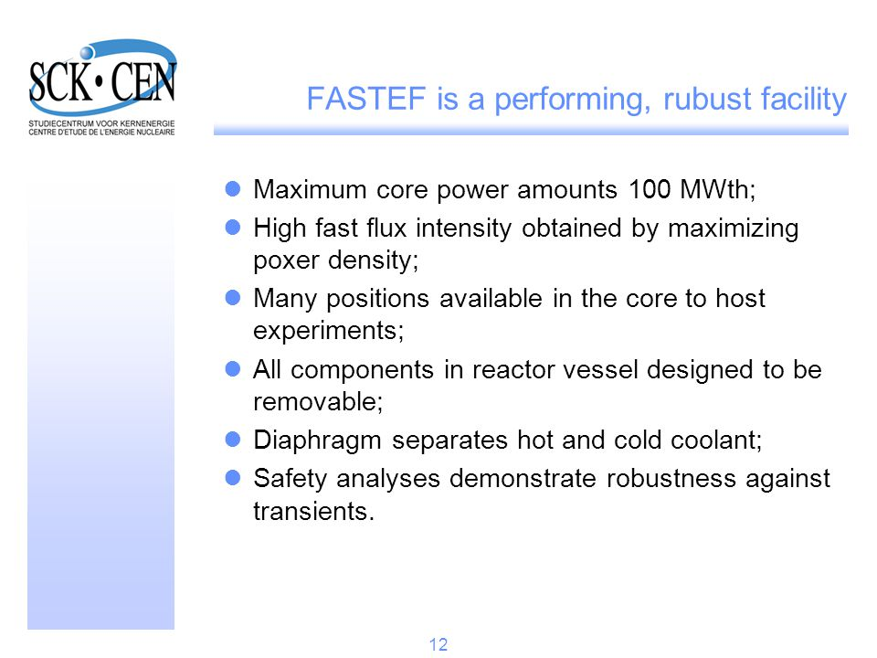 FASTEF is a performing, rubust facility Maximum core power amounts 100 MWth; High fast flux intensity obtained by maximizing poxer density; Many posit