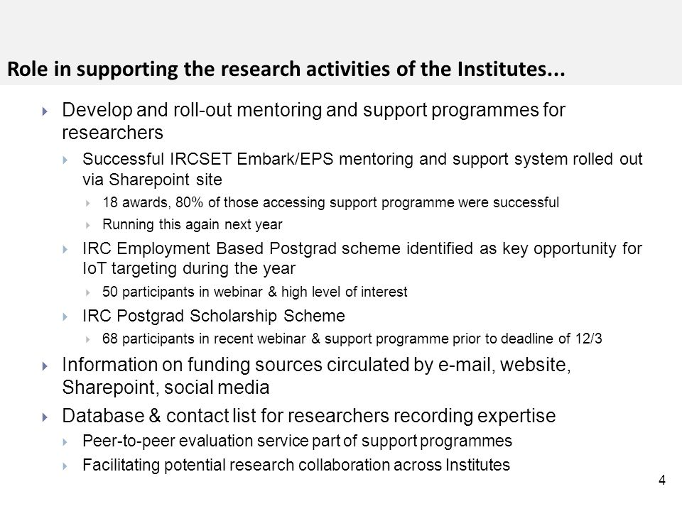 15 The pipeline of PhD and Masters research students provided real impetus for the development of specialist research capability...