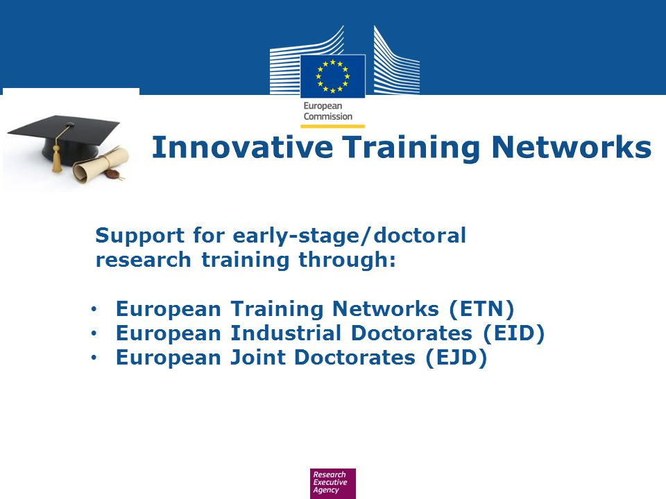 Support for early-stage/doctoral research training through: European Training Networks (ETN) European Industrial Doctorates (EID) European Joint Docto