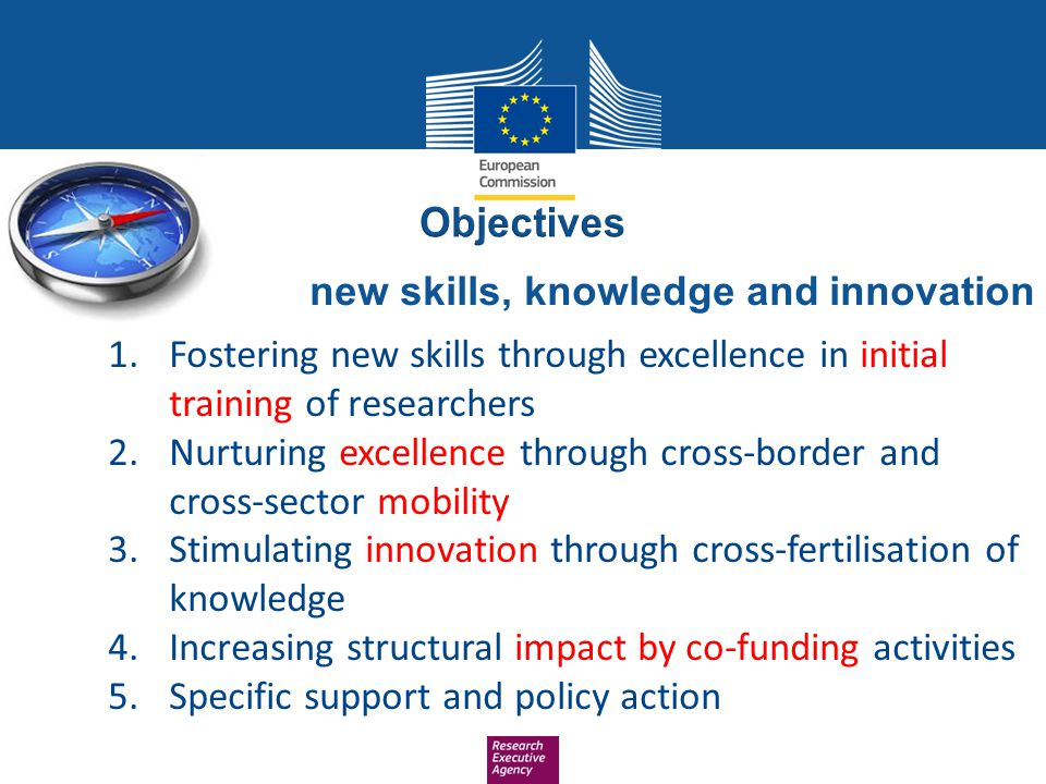 new skills, knowledge and innovation 1.Fostering new skills through excellence in initial training of researchers 2.Nurturing excellence through cross