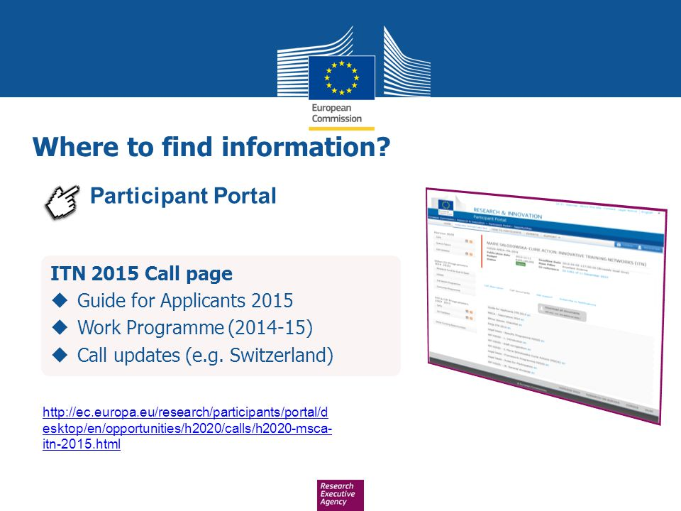 ITN 2015 Call page  Guide for Applicants 2015  Work Programme (2014-15)  Call updates (e.g. Switzerland) Where to find information? Participant Por