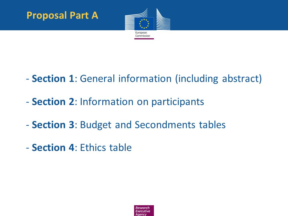 Proposal Part A - Section 1: General information (including abstract) - Section 2: Information on participants - Section 3: Budget and Secondments tab