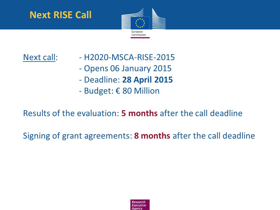 Next RISE Call Next call: - H2020-MSCA-RISE-2015 - Opens 06 January 2015 - Deadline: 28 April 2015 - Budget: € 80 Million Results of the evaluation: 5