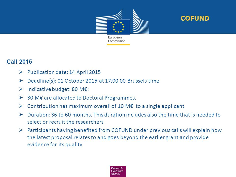 Call 2015  Publication date: 14 April 2015  Deadline(s): 01 October 2015 at 17.00.00 Brussels time  Indicative budget: 80 M€:  30 M€ are allocated