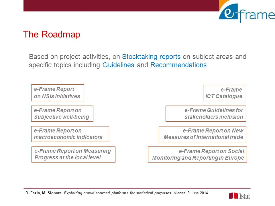 The Roadmap Based on project activities, on Stocktaking reports on subject areas and specific topics including Guidelines and Recommendations e-Frame
