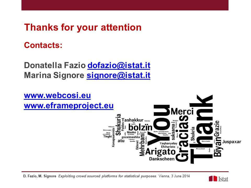 Contacts: Donatella Fazio dofazio@istat.itdofazio@istat.it Marina Signore signore@istat.itsignore@istat.it www.webcosi.eu www.eframeproject.eu Thanks for your attention D.