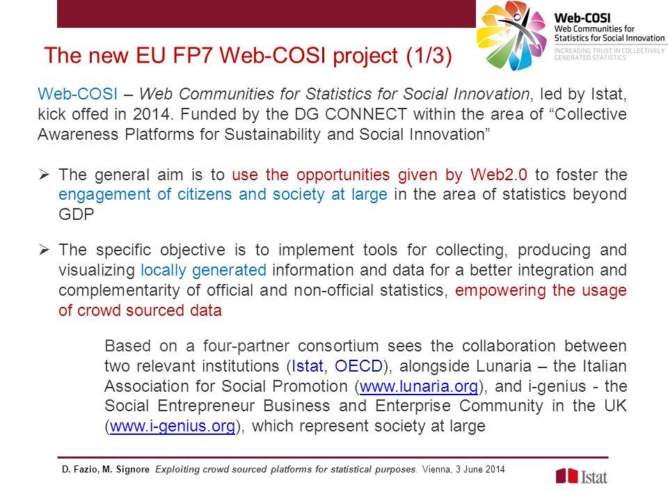 The new EU FP7 Web-COSI project (2/3) D.Fazio, M.