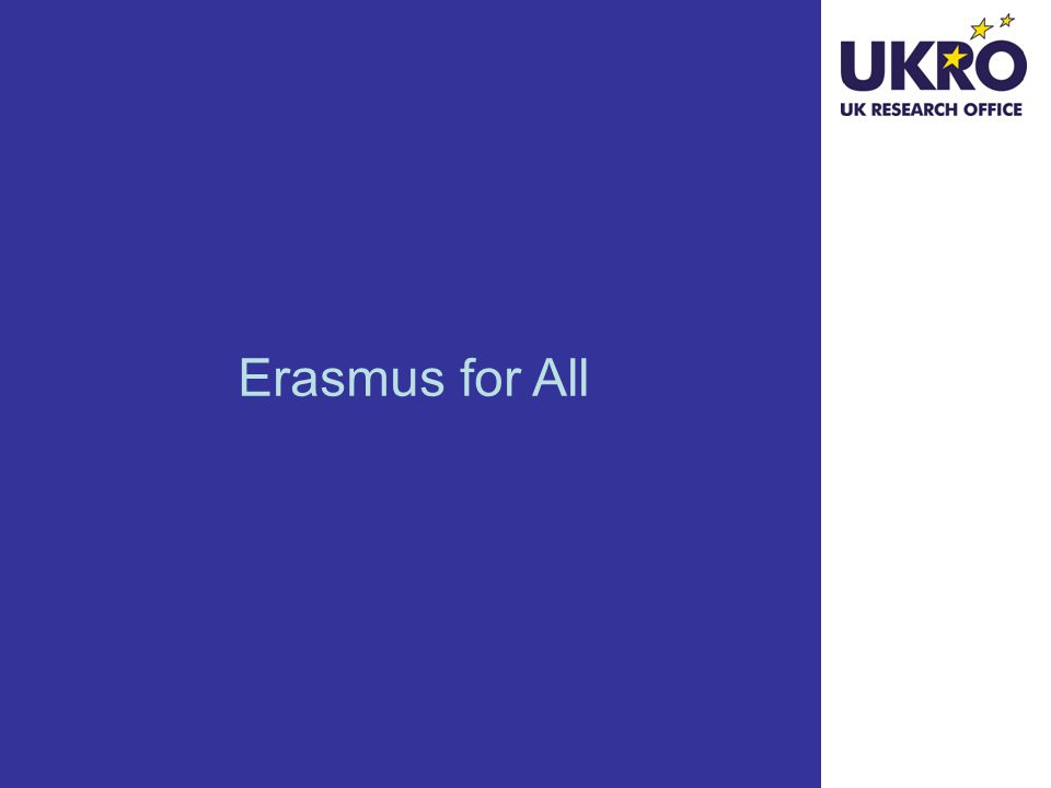 Erasmus for All - overview Covers education at all levels, in a lifelong learning perspective, in particular: Higher Education Vocational Education and Training Adult Learning School education Youth Sport Replaces: Lifelong Learning Programme Youth in Action Erasmus Mundus ALFA III TEMPUS EDULINK bilateral co-operation with industrialised countries 75 activities in these programmes reduced to 11 under three broad headings Reduction of duplication and fragmentation Erasmus for All