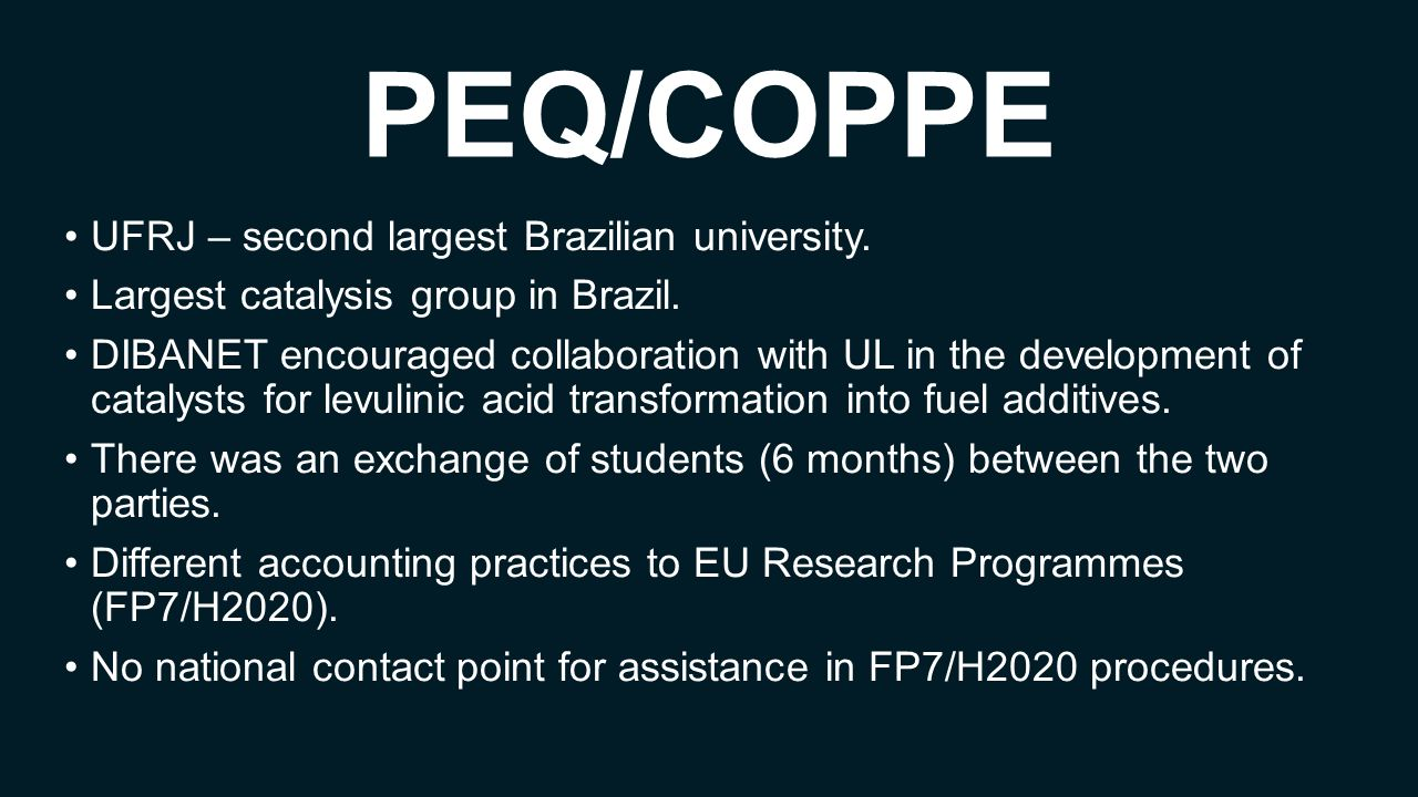 PEQ/COPPE UFRJ – second largest Brazilian university. Largest catalysis group in Brazil. DIBANET encouraged collaboration with UL in the development o