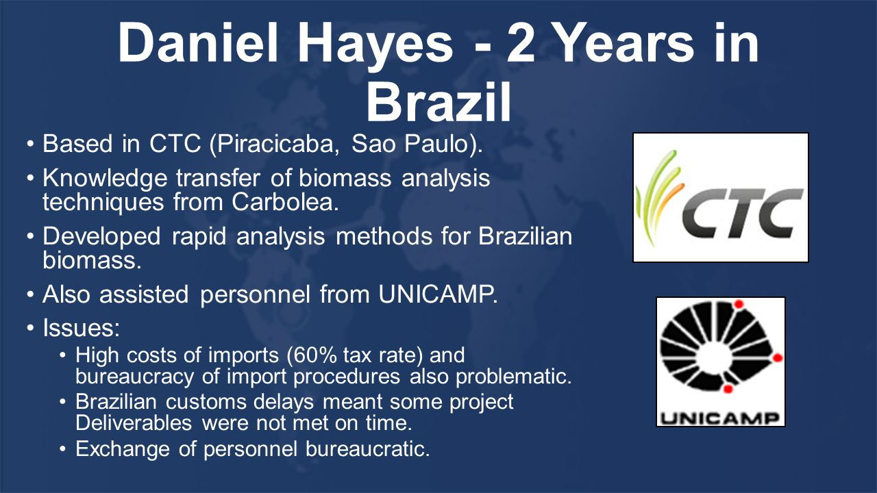 Daniel Hayes - 2 Years in Brazil Based in CTC (Piracicaba, Sao Paulo).