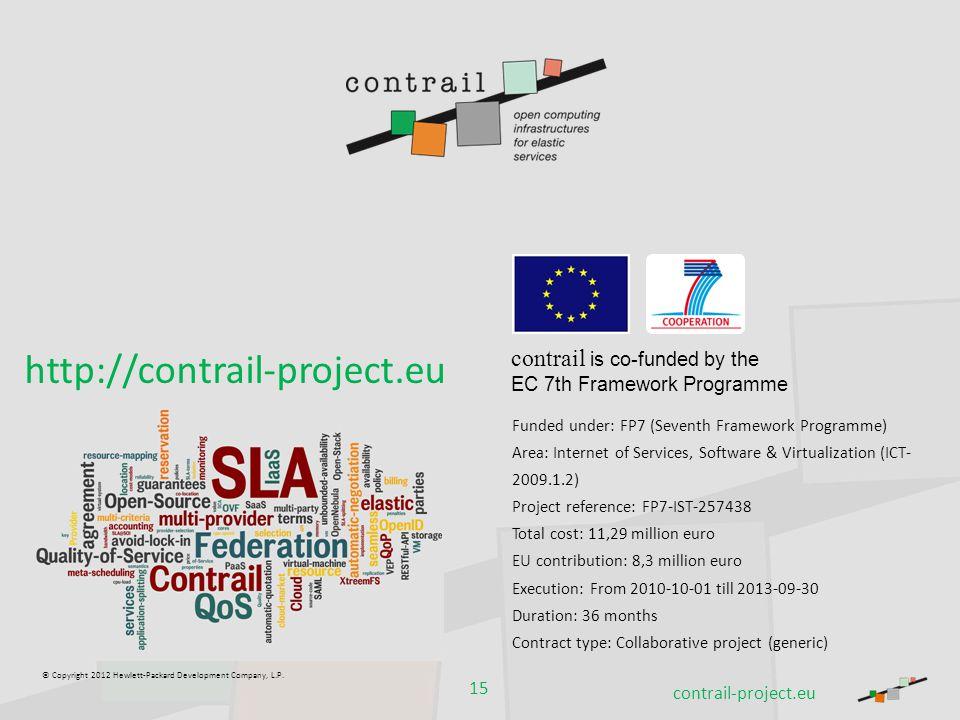 © Copyright 2012 Hewlett-Packard Development Company, L.P. Funded under: FP7 (Seventh Framework Programme) Area: Internet of Services, Software & Virt