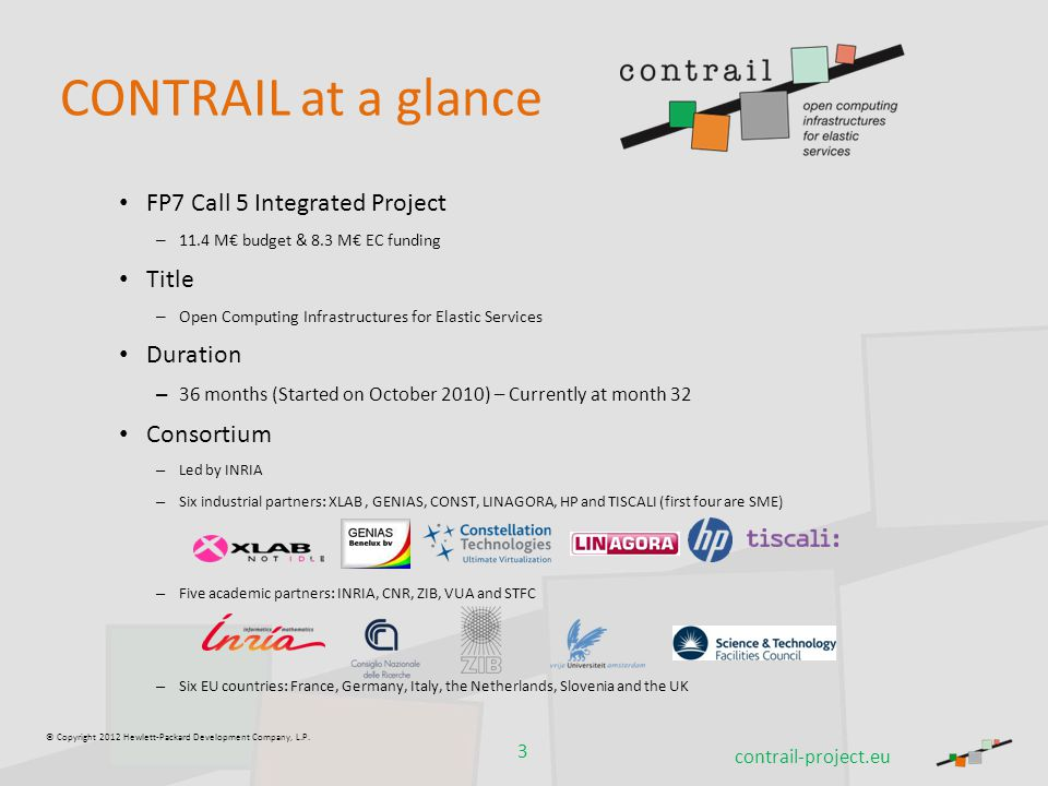 © Copyright 2012 Hewlett-Packard Development Company, L.P. CONTRAIL at a glance FP7 Call 5 Integrated Project – 11.4 M€ budget & 8.3 M€ EC funding Tit