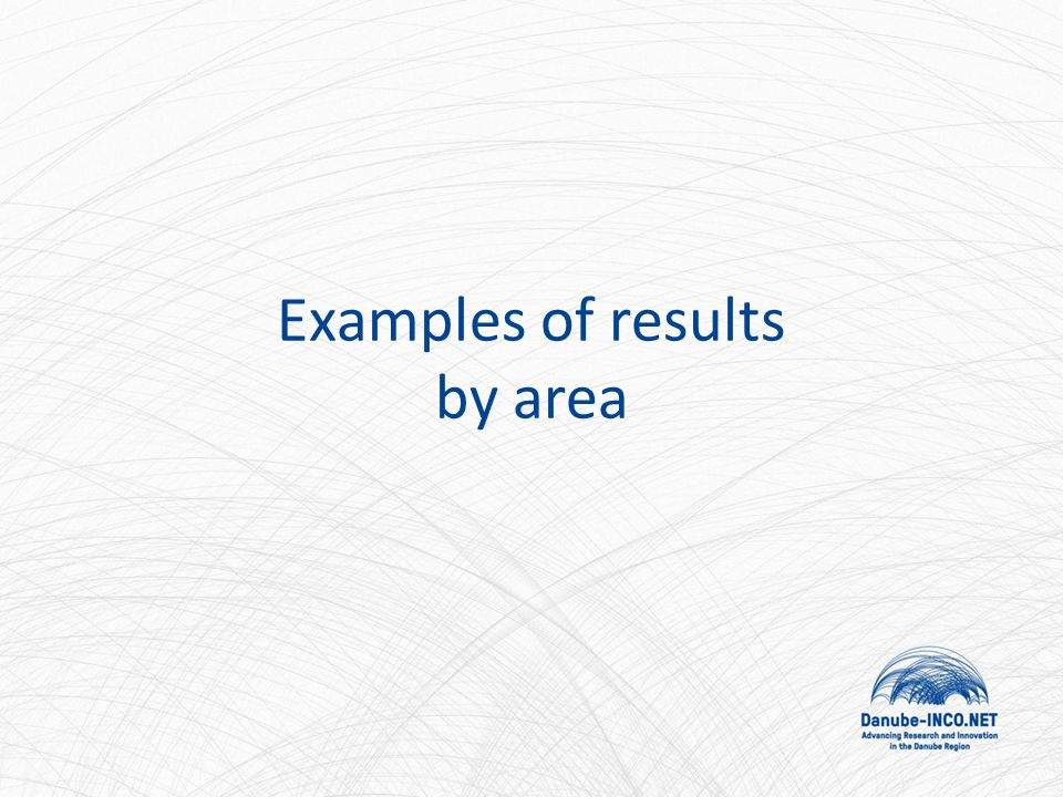 Examples of results by area