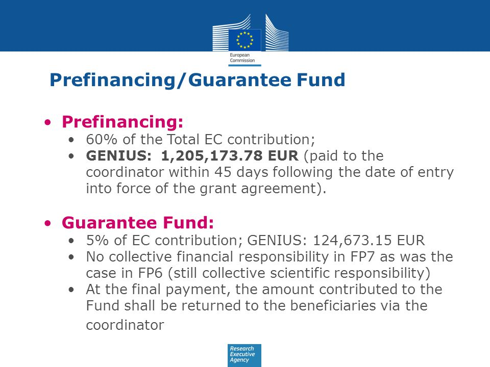 Prefinancing/Guarantee Fund Prefinancing: 60% of the Total EC contribution; GENIUS: 1,205,173.78 EUR (paid to the coordinator within 45 days following