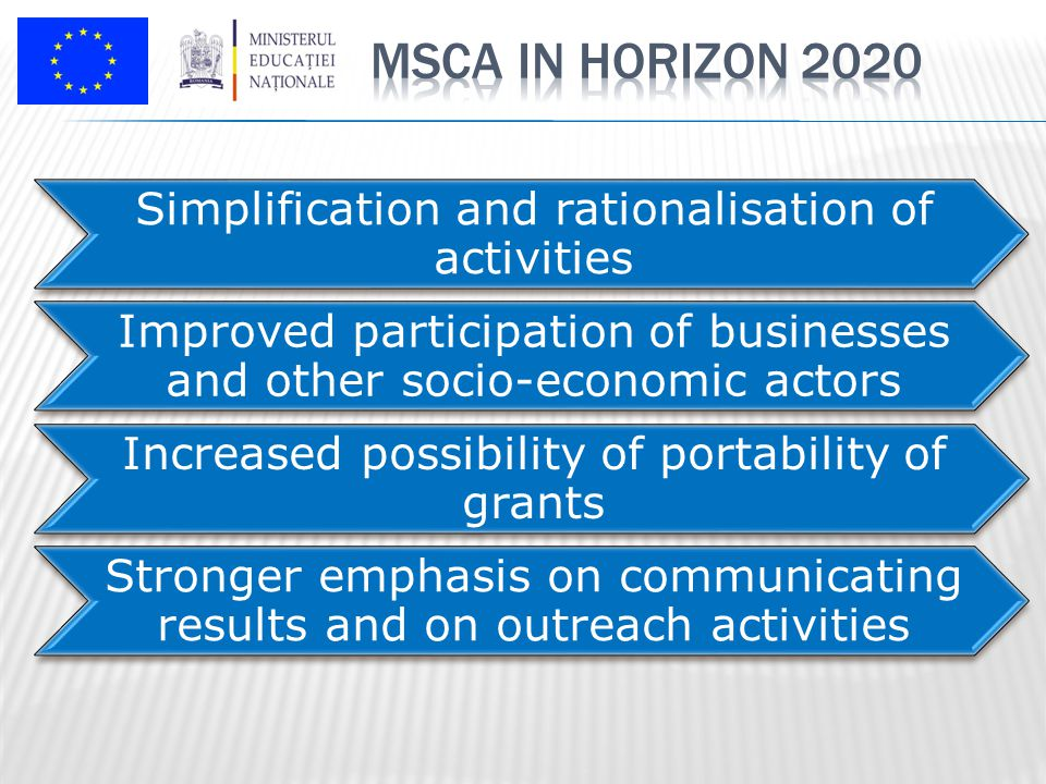 Simplification and rationalisation of activities Improved participation of businesses and other socio-economic actors Increased possibility of portability of grants Stronger emphasis on communicating results and on outreach activities