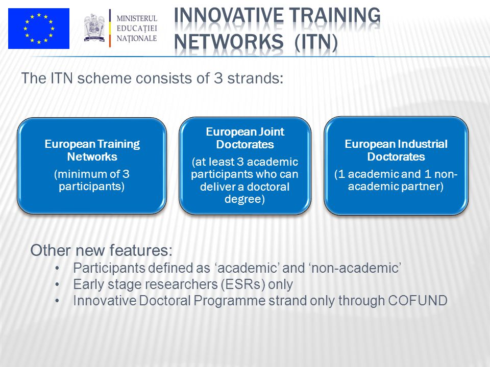 The ITN scheme consists of 3 strands: European Training Networks (minimum of 3 participants) European Joint Doctorates (at least 3 academic participants who can deliver a doctoral degree) European Industrial Doctorates (1 academic and 1 non- academic partner) Other new features: Participants defined as 'academic' and 'non-academic' Early stage researchers (ESRs) only Innovative Doctoral Programme strand only through COFUND