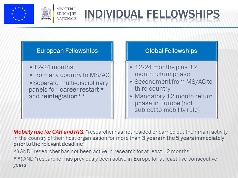 European Fellowships 12-24 months From any country to MS/AC Separate multi-disciplinary panels for career restart * and reintegration** Global Fellowships 12-24 months plus 12 month return phase Secondment from MS/AC to third country Mandatory 12 month return phase in Europe (not subject to mobility rule) Mobility rule for CAR and RIG: researcher has not resided or carried out their main activity in the country of their host organisation for more than 3 years in the 5 years immediately prior to the relevant deadline *) AND researcher has not been active in research for at least 12 months **) AND researcher has previously been active in Europe for at least five consecutive years