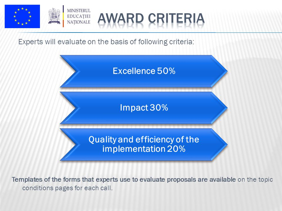 Experts will evaluate on the basis of following criteria: Excellence 50% Impact 30% Quality and efficiency of the implementation 20% Templates of the forms that experts use to evaluate proposals are available on the topic conditions pages for each call.
