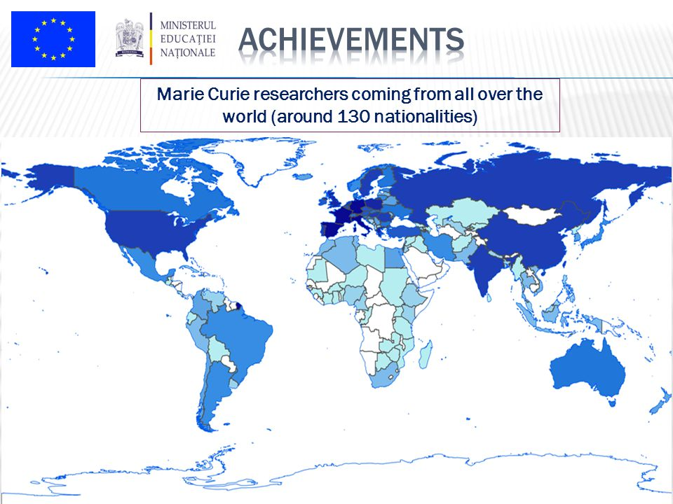 Marie Curie researchers coming from all over the world (around 130 nationalities)