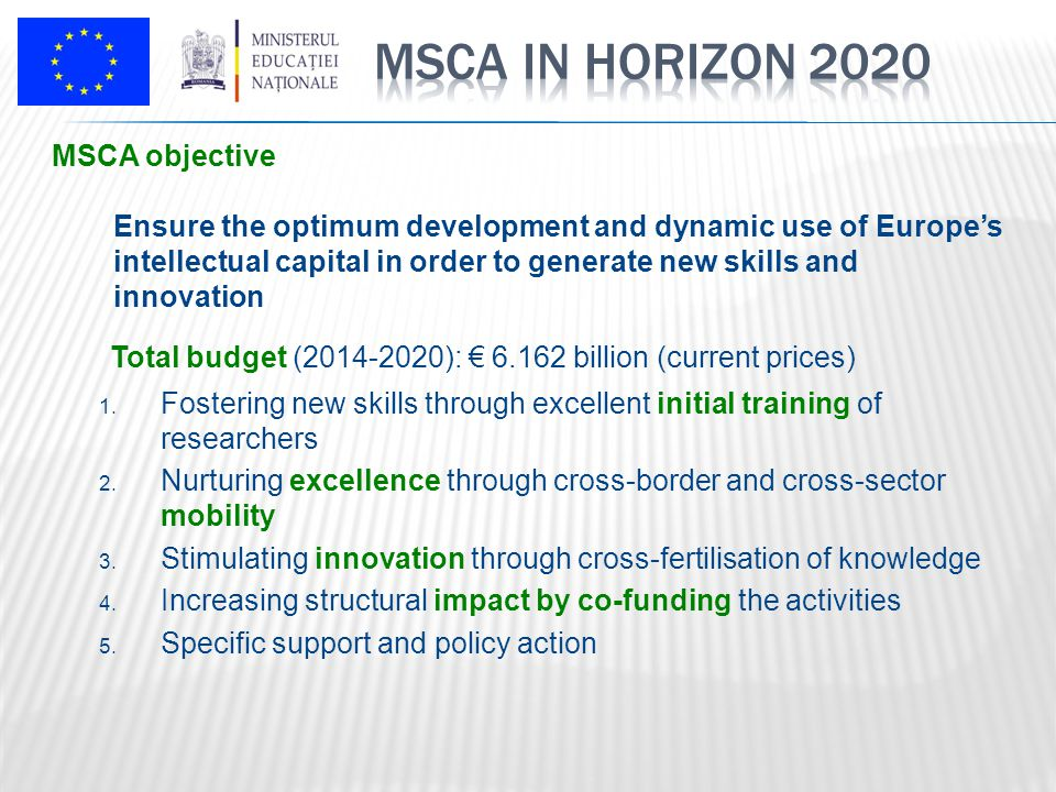 Operates in a 'bottom-up' basis Open to all research and innovation domains – from basic research to market take-up Mobility is a key requirement Aim: develop new knowledge / enhance skills of people behind research and innovation Dissemination and public engagement through public outreach activities Total budget: €6.2bn (compared with €4.7bn in FP7)