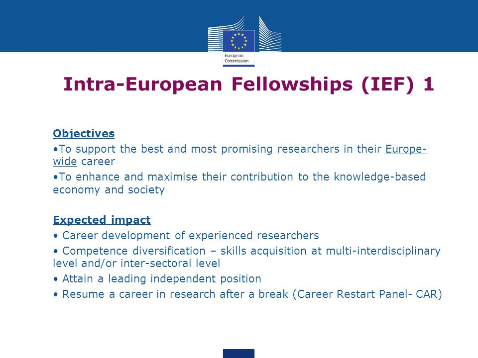 Intra-European Fellowships (IEF) 1 Objectives To support the best and most promising researchers in their Europe- wide career To enhance and maximise their contribution to the knowledge-based economy and society Expected impact Career development of experienced researchers Competence diversification – skills acquisition at multi-interdisciplinary level and/or inter-sectoral level Attain a leading independent position Resume a career in research after a break (Career Restart Panel- CAR)