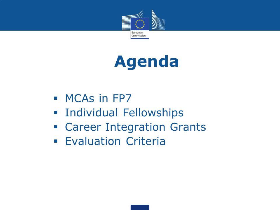  MCAs in FP7  Individual Fellowships  Career Integration Grants  Evaluation Criteria Agenda