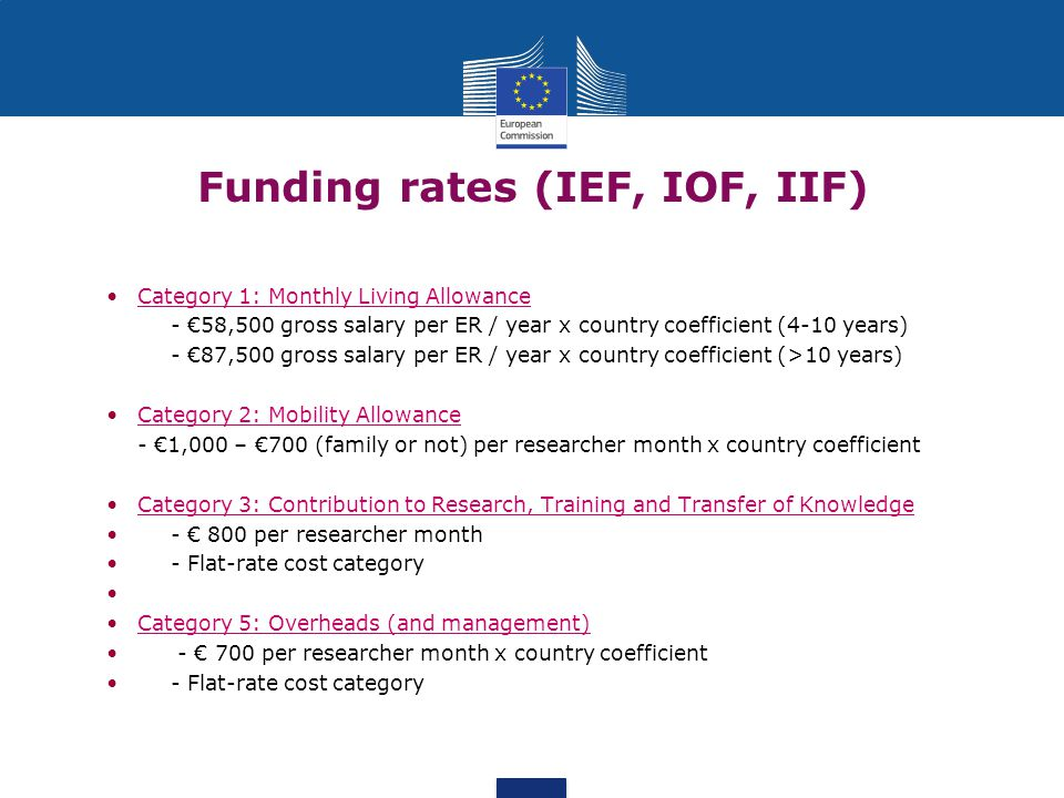 Funding rates (IEF, IOF, IIF) Category 1: Monthly Living Allowance - €58,500 gross salary per ER / year x country coefficient (4-10 years) - €87,500 gross salary per ER / year x country coefficient (>10 years) Category 2: Mobility Allowance - €1,000 – €700 (family or not) per researcher month x country coefficient Category 3: Contribution to Research, Τraining and Transfer of Knowledge - € 800 per researcher month - Flat-rate cost category Category 5: Overheads (and management) - € 700 per researcher month x country coefficient - Flat-rate cost category
