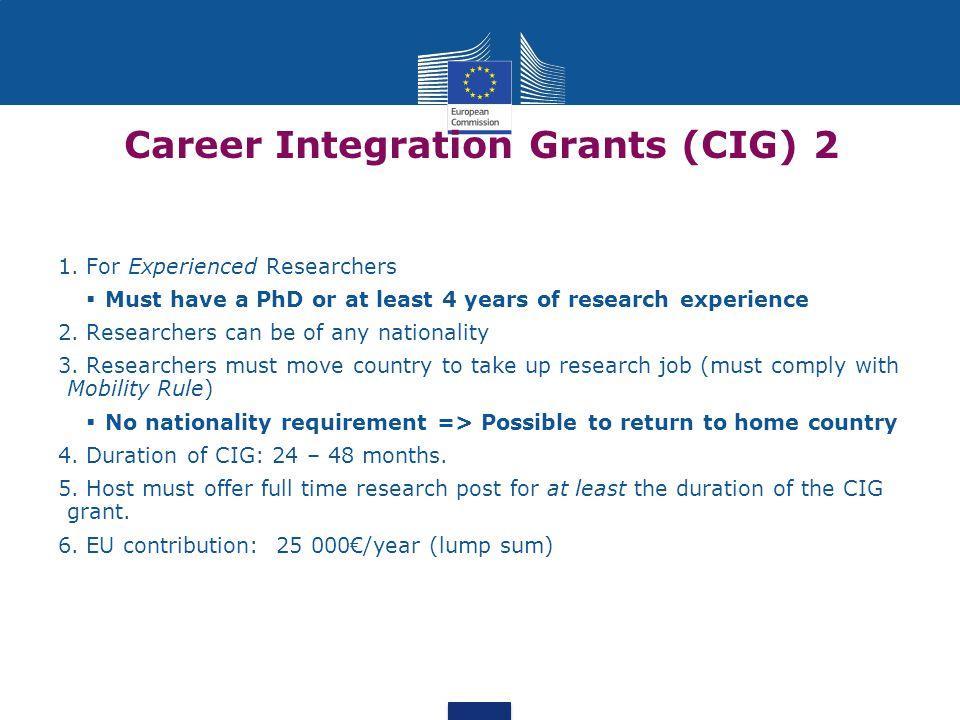Career Integration Grants (CIG) 2 1.