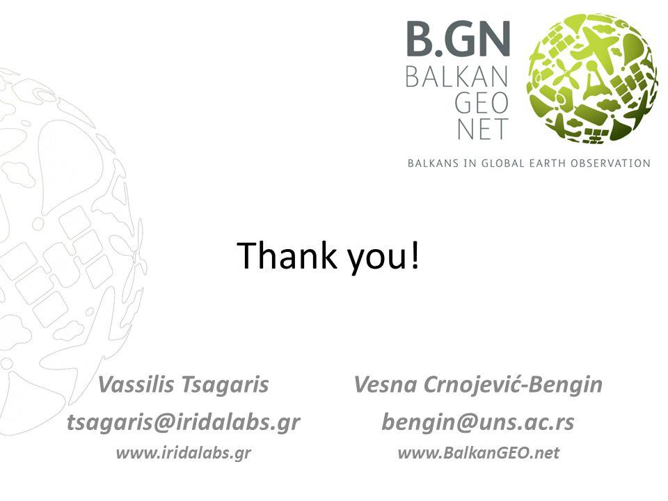 Thank you! Vassilis Tsagaris tsagaris@iridalabs.gr www.iridalabs.gr Vesna Crnojević-Bengin bengin@uns.ac.rs www.BalkanGEO.net